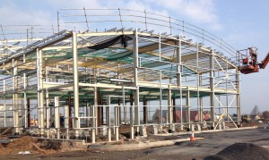 A structural steel frame under construction